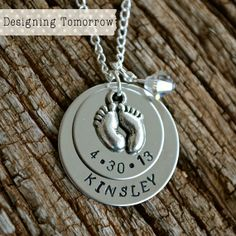 Personalized Baby's Birth Necklace with Baby by DesigningTomorrow, $25.00