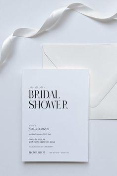 White Bridal Shower, Unique Bridal Shower, Bridal Shower Party, Bridal Shower Decorations, Unique Invitations, Bridal Shower Invitations, Wedding Invitation, Brunch Invitations, Invitation Ideas