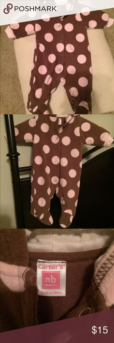 Long Sleeve Baby Button Up Onesie Brown and Pink Polka Dot Button Up Onsesie From Carters Carter's One Pieces Footies