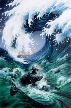 Art by Tsuneo Sanda...I want this style of waves for my lower left arm to complete my sleeve after I retire.