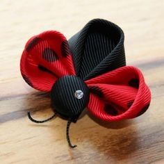 Kanzashi Ladybug Hair Clip