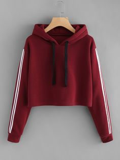 Red Crop Hoodie with arm stripes ROMWE