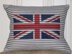 shabby chic feed sack french country Union Jack sham by kreativbyerika, $28.00