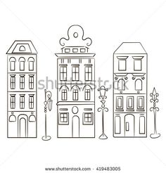 Set of silhouette of old houses and street lanterns. Stylized picture.  Isolated on white.   - stock vector