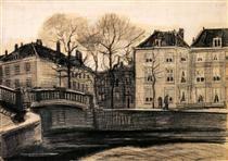 Bridge and Houses on the Corner of Herengracht-Prinsessegracht - Vincent van Gogh