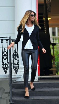 white tee, black cardi but skip those pants -- reg. black jeans or leggings instead.