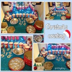 Christmas counting. Cups are numbered. Loose parts to count include bells, crystals, Angels, beads cut in segments 1-20