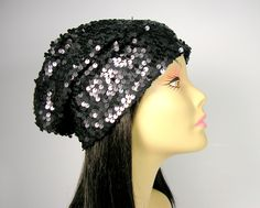 Black Sequin Slouchy Beanie Hat Sequined Hats Glam Sequin Beret Hat for Hair Loss Flapper Slouchy Hats Sequined Beanie Chemo Hats Slouch Hat by LooptheLoop on Etsy Still the favorite