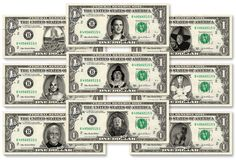 WIZARD OF OZ 9-set Dollar Bill Collection - Made with Real $1 Money Cash Currency by Vincent-the-Artist, $55.00 USD