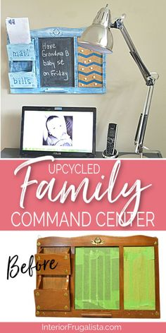 An upcycled family command center from a thrift store mail sorter, perfect for budget-friendly small space organization. It could be used as a kitchen command center, home office organization, or a kids bedroom. Click to read more at Interior Frugalista. #familycommandcenter #kitchencommandcenter #organizingideas #homeofficeorganization