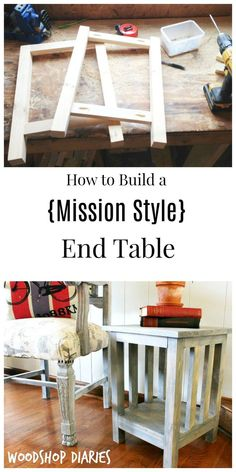 How to Build a Simple DIY Mission Style End Table - Diy Furniture Bedroom Farmhouse End Tables, Rustic End Tables, Diy End Tables, A Table, Side Tables, Living Room End Tables, Table Lamp, Diy Furniture Table, Diy Furniture Projects