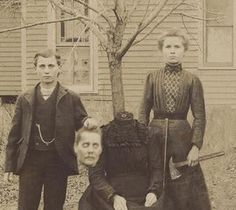 This is the Buckley Family. The children were Susan and John. As a Halloween joke, the kids in the neighborhood were going to get a dummy and pretend to chop its head off. The Buckley children thought it would be hilarious to actually murder their mother, so when the kids walked up the the door, they got an axe and slaughtered her. Once everyone figured out what they had really done the kids were long gone. The only picture of them was this photo, taken by a trick or treater.