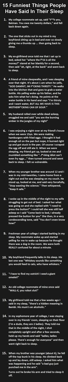 15 Funniest things people say in their sleep