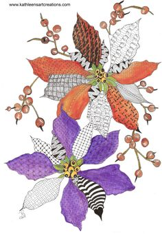 Whimsical Zentangle® Inspired Christmas Poinsettia. Completed April 29, 2014. A 12-pack of note cards are available for $23.00 with FREE shipping and handling. Prints also available plus much more.