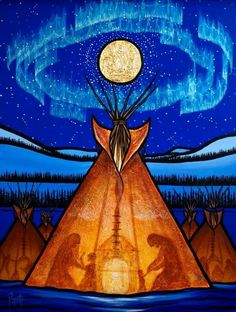 Native American art                                                                                                                                                                                 More Teepees, Native American Artists, Native American Paintings, Native American Drawing, Native American Indians, Native Canadian, Canadian Art, Shamanism, Historia Del Color