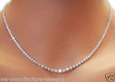 "14k White Gold 4Prong Diamond Tennis Necklace 7.04ct G/SI 16"" Graduated"