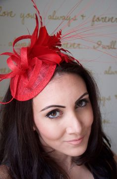 Red Mini Fascinator - Arianna Mini Red Mesh Derby Fascintor