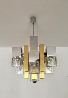 Vintage Italian Chandelier by Gaetano Sciolari, 1970s for sale at Pamono