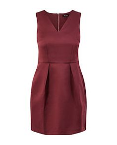 Red Sateen Pleated Sleeveless Dress | New Look