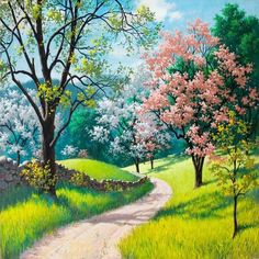 Scenery and Nature lovers will love this beautiful Scenery Light Path paint by number kit. Release your stress and Express your creativity. Shop hundreds of Paint by Number Kits for Adults at our store. Our Kits include everything you need to get started. Fantasy Landscape, Landscape Art, Landscape Paintings, Spring Landscape, Landscape Fabric, Beautiful Nature Wallpaper, Beautiful Landscapes, Beautiful Paintings Of Nature, Beautiful Scenery