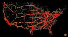 nordpil:  USA highway traffic flow by Max Galka #map #traffic #usa via [Pinterest pinned to the Nordpil Interesting Maps Pinterest Board]
