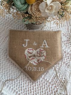 Baseball themed Wedding Ring Pillow Natural by BlessedinLove