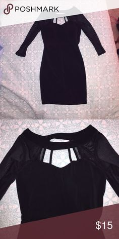 Black bodycon mesh mini dress Black bodycon mini dress with mesh sleeves and built in bra from Charlotte Russe. Never worn Charlotte Russe Dresses Mini