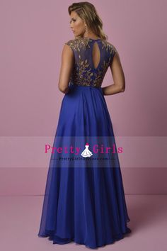 2015 Prom Dress Scoop Neckline Beaded A Line Chiffon With Embroidery