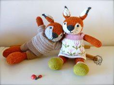 Prunelle et Ficelle les renards tricotés main