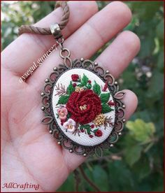 Floral Embroidery Necklace For Women Gift For Her Fashion Jewelry, Necklace For Girlfriend Vintage Style Embroidered Pendant - Women's Necklaces Fashion Jewelry Necklaces, Unique Necklaces, Handmade Necklaces, Women Jewelry, Jewelry Bracelets, Gifts For Women, Gifts For Her, Resin Bracelet, Cluster Necklace