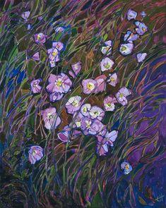 Evening Primrose wildflower oil painting by American impressionist Erin Hanson