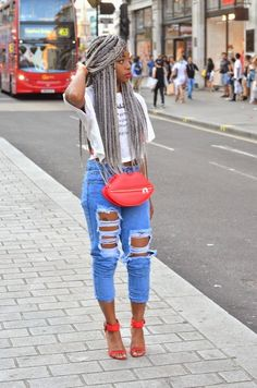 gray box braids, afro hairstyle, black women inspiration, ripped denim, jeans outfit, street style, cute shoes heels