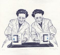 Linocut History of Physics  Madame Wu and the by minouette on Etsy, $35.00