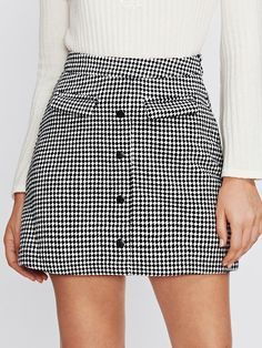Shop Non Functional Pocket Button Up Checkered Skirt online. SheIn offers Non Functional Pocket Button Up Checkered Skirt & more to fit your fashionable needs. Work Skirts, Cute Skirts, Plaid Skirts, A Line Skirts, Mini Skirts, Skirt Outfits, Casual Outfits, Cute Outfits, Women's Casual