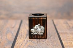 Black Russian Terrier - Wooden candlestick with dog, souvenir, decoration, limited edition, Collection Airedale Terrier, Fox Terrier, Pitbull Terrier, Scottish Deerhound, Scottish Terrier, Boston Terrier, Black Russian Terrier, German Wirehaired Pointer, Pharaoh Hound