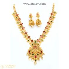 22 Karat Gold 'Peacock' Necklace & Long Earrings Set with Uncut Diamonds,Rubies,Emeralds,Japanese Culture  - 235-DS710 - Buy this Latest Indian Gold Jewelry Design in 57.700 Grams for a low price of  $4,887.39