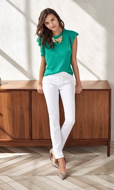 Add a pop of color with feminine details to your style with our flutter sleeve linen teal blouse. Wear thus top with a white pant and pumps for a casual yet polished look   Banana Republic