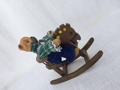 Vintage Porcelain Teddy Bear Wooden Rocking Horse by GreenVi