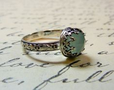 Beautiful Gothic Vintage Sterling Silver Floral Band Ring with Rose cut Aqua Chalcedony and Heart Bezel