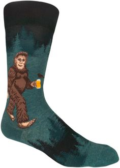 A little known Sasquatch fact is his love of craft beer. Show the world you are the foremost expert on both Bigfoot and beer in a pair of ModSocks' Sasquatch Loves Beer Men's Crew Socks. Beer Socks, My Socks, Funky Socks For Men, Sloth Socks, Mens Novelty Socks, Memento, Funny Socks, Colorful Socks, Dream Shoes