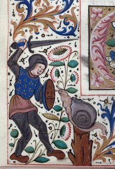 Because, giant snails are dangerous... Montpellier, Bibliothèque interuniversitaire. Section Médecine, H 418, detail of f. 107v.  Institutes of Justinian (15th century)