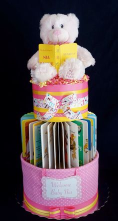 Story Time Diaper Cake created with 4 books. www.facebook.com/DiaperCakesbyDiana