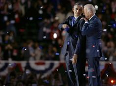 Vice President Joe Biden, right, talks to President Barack Obama at their election night party Wednesday, Nov. 7, 2012, in Chicago.