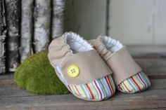 Rainbow soft sole baby shoes fabric booties by TheThreadStudio, $22.00