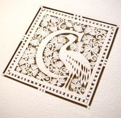 Gorgeous handcrafted papercutting—intricate letter/monogram design with coordinating image❣ Sara Burgess • PaperSaw • Etsy
