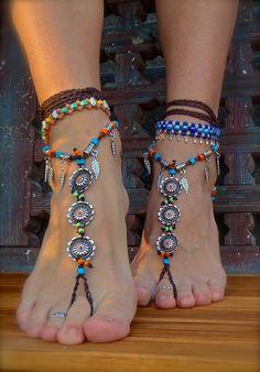 BAREFOOT Bohemian WEDDING barefoot sandals BROWN slave Anklets crochet Sandals sole less shoes crochet anklets antique flowers. $74.00, via Etsy.