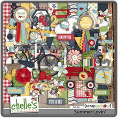 5.17 Summer Lovin Freebie Cluster | Digital Scrapbooking Freebies - Chelles Creations