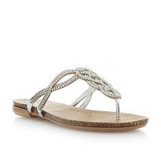 Dune Damen Sandalen mit Strass- und Kettenverzierung und Zehensteg Metallic Größe EUR 36 - http://on-line-kaufen.de/dune/36-eu-dune-damen-sandalen-mit-strass-und-und