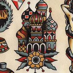 Russian Orthodox Cathedral Tattoo Flash