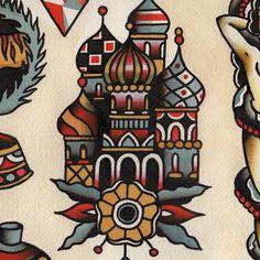 Russian Orthodox Cathedral Tattoo Flash